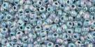 10 g TOHO Seed Beads 11/0 TR-11-0773 - Inside-Color Rainbow Crystal/Montana Blue Lined (E)