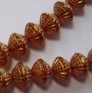 25 Stück Druckperlen - Donut tr. hyacinth-gold 8x8 mm