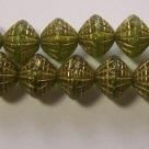 25 Stück Druckperlen - Donut tr. grün-gold 8x8 mm