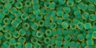 10 g TOHO Seed Beads 11/0 TR-11-0242 M - Inside-Color Frosted Jonquil/Emerald Lined (E)