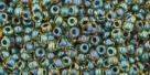 10 g TOHO Seed Beads 11/0 TR-11-0243 - Inside-Color Rainbow Topaz/Opaque Emerald Lined (E)