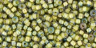 10 g TOHO Seed Beads 11/0 TR-11-0246 - Inside-Color Luster Black Diamond/Opaque Yellow (E)