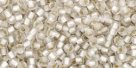 10 g TOHO Seed Beads 11/0 TR-11-0021 F Crystal Silver-Lined Frosted (A,D)