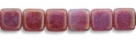 50 Stück Two-Hole Flat Square 6mm - Pink/Topaz Luster- Opal Ale