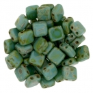 50 Stück Two-Hole Flat Square 6mm - Picasso Persian Turquoise