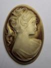 1 Stück ovale Camée beige/braun/gold