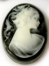 1 Stück ovale Camée 28x40x7mm (LxBxH) schwarz/weiß