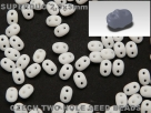 #004 10g SuperDuo-Beads opak chalk white matt