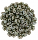 #37 10g SuperDuo-Beads opak white/turquoise - ceramik look