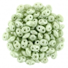 #038 10g SuperDuo-Beads opak white/green - ceramik look