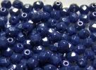 #51.00a 50 Stück - 4,0 mm Glasschliffperlen - opak blue hematit