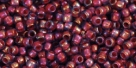 10 g TOHO Seed Beads 11/0 TR-11-1824 - Inside-Color Rainbow Alexandrite/Opaque Orange Lined