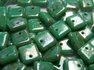 50 Stück Squarelet 6x6 mm opak Green Turquoise Silver Travertin