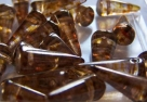 #11 - 10 Stck. Spike-Bead 7x17mm - smoky topaz goldluster