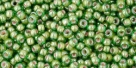 10 g TOHO Seed Beads 11/0 TR-11-1046 - Inside-Color Luster Peridot/Opaque White Lined (E)