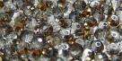 25 facetierte Rondelle 3*4mm black diamond half gold