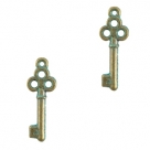 1 Schlüssel Boho 20x7 mm - antikbronze - grün patina