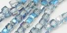 25 facetierte Würfel 4*4mm sky blue half plated-galvanisiert