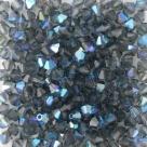 #13.03 - 25 Stück - 4,0 mm Crystal Bicone montana blue AB