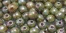 #65 50 Stück Perlen rund - opak chalk white lazure blue - Ø 4 m