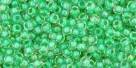 10 g TOHO Seed Beads 11/0 TR-11-0184 - Inside-Color Luster Crystal/Spearmint Lined (E)
