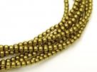 02010/10131 - 1 Strang Perlen Ø 2 mm rund - dk gold-olive pearl-coating