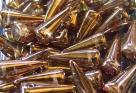#11a - 10 Stck. Spike-Bead 7x17mm - smoky topaz goldluster