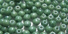 #50 - 50 Stück Perlen rund - opak weiß green luster - Ø 3 mm