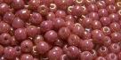 #52 - 50 Stück Perlen rund - opak weiß red luster - Ø 3 mm
