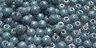 #55 - 50 Stück Perlen rund - opak white blue luster - Ø 3 mm