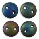 #05 - 50 Stück Two-Hole Lentils 6mm - Matte Iris Green