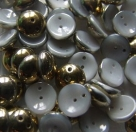 #49 - 25 Stck. Piggy-Beads 4x8mm - opal white brass
