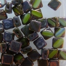 25 Stück Two-Hole Silky Beads 6mm - olive/half bronze - table cu