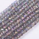 95 facetierte Rondelle 2*3mm Black Diamond Dk-Violett-AB-galv.