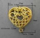 1 filigranes Herz 17x19 mm - gold - 2 Ösen