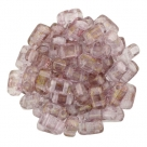 #22 - 50 Stück Two-Hole Bricks 3x6mm - crystal topaz/pink luster