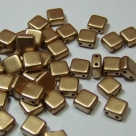 50 Stück Two-Hole Flat Square 6mm - aztec gold