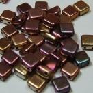 50 Stück Two-Hole Flat Square 6mm - purple iris gold