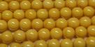 #28 1 Strang Perlen rund - white mustard painted - Ø 6 mm